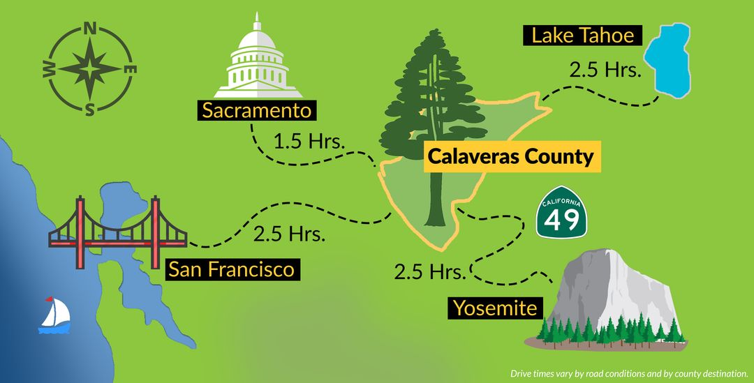 Calaveras is centrally located between San Francisco, Yosemit, Sacramento, and Lake Tahoe